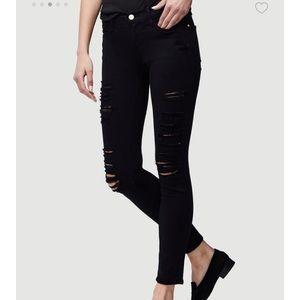 Frame Skinny De Jeanne Black Ripped Jeans Sz 26